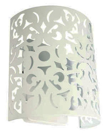 Wall Light - White Wrought Metal, Stunning Cutout - Rustic