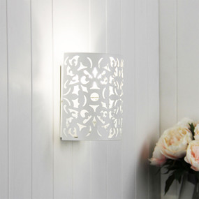 Wall Light - White Wrought Metal, Stunning Cutout - Rustic