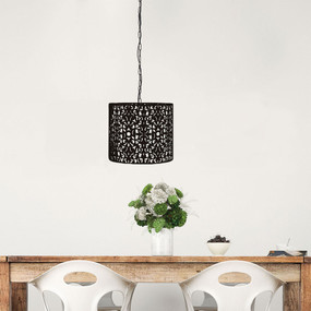 Pendant Light - Black Wrought Metal, Stunning Cutout - Rustic 35