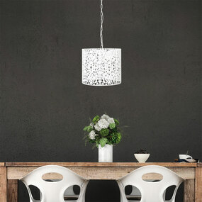Pendant Light - White Wrought Metal, Stunning Cutout - Rustic 35