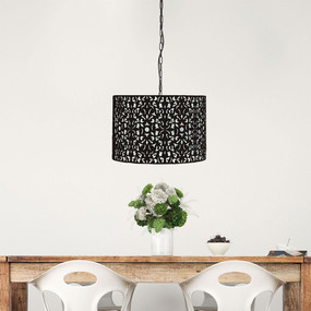 Pendant Light - Black Wrought Metal, Stunning Cutout - Rustic 45