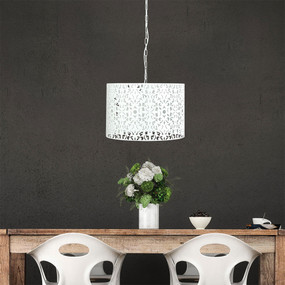 Pendant Light - White Wrought Metal, Stunning Cutout - Rustic 45