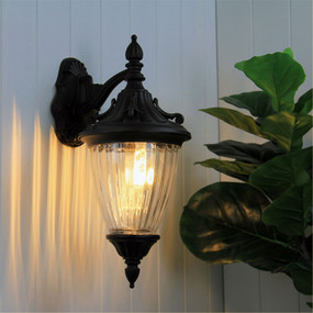Victorian Outdoor Wall Light Down Facing Black