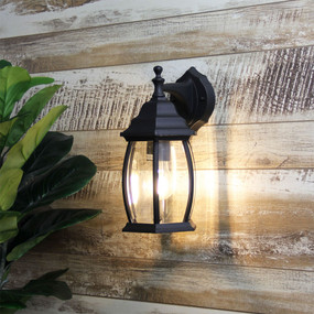 Period Down Exterior Wall Light Black