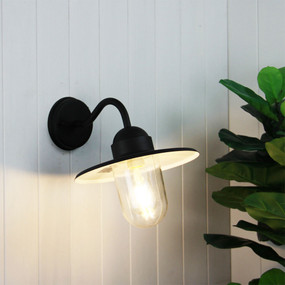 Contemporary Outdoor Wall Light Black