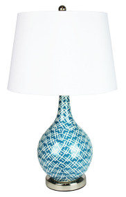 Chaka Teal Blue Decal Complete Table Lamp