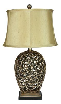 Donati Antique Silver Cut Complete Table Lamp