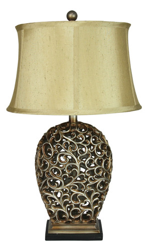 Donati Antique Silver Cut Complete Table Lamp