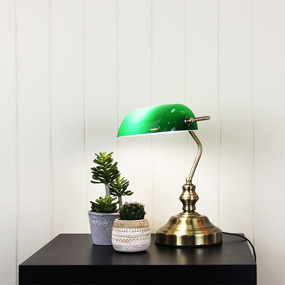 Bankers Lamp - Switch On Cord Green With Antique Brass