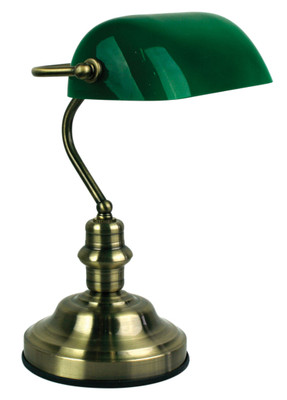 Bankers Lamp Antique Brass (Switched)