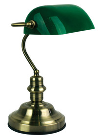 Bankers Lamp Touch Antique Brass / Dark Green