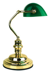 Bankers Lamp Touch Brass / Dark Green