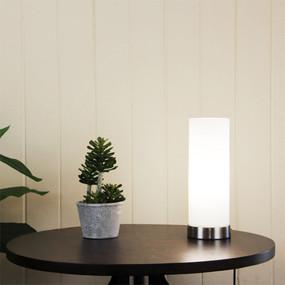 Linear Round Touch Lamp Opal Matt / Brushed Chrome