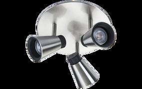 Ceiling Lights - 3 Adjustable GU10 Spotlights Brushed Steel O300
