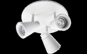 Ceiling Lights - 3 Adjustable GU10 Spotlights White O303