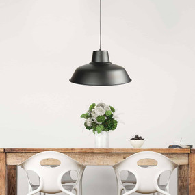 Industrial Pendant Light - Large Black With Adjustable Cord