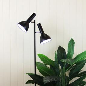Floor Lamp - Modernistic Twin Head Black