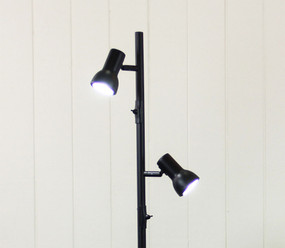 Floor Lamp - Upright LED Twin Black