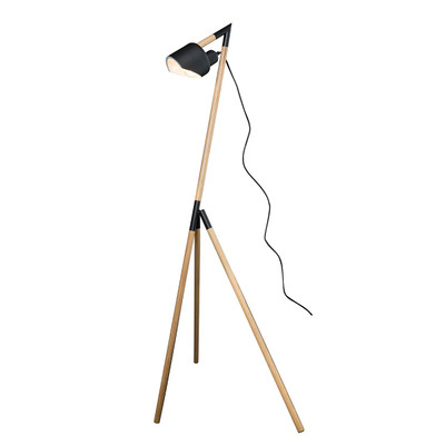 Kyoto Tripod Floor Lamp - Black Metal With Timber