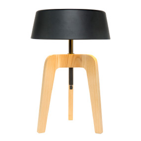 Jacobsen Walnut and Metal Table Lamp - Black Shade