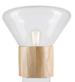 Copenhagen Timber and Glass Table Lamp - Clear