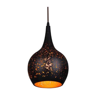 Black Pendant Light - Bell Shaped Long Cord Gold Interior - Celeste