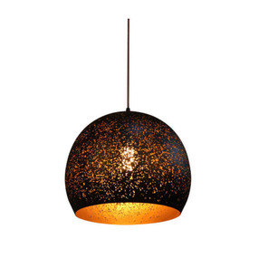 Black Pendant Light - Dome Shaped Long Cord Gold Interior - Celeste