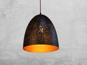 Rustic Black Pendant Light - High Dome Shape Gold Interior