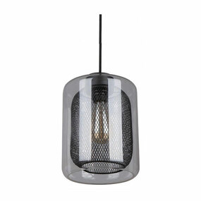 Glass Pendant Light - Industrial Style With Black Mesh - Tono
