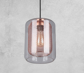 Glass Pendant Light - Industrial Style With Copper Cage
