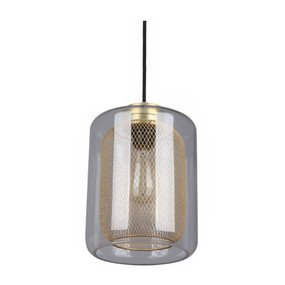 Glass Pendant Light - Industrial Style With Brass Mesh - Tono