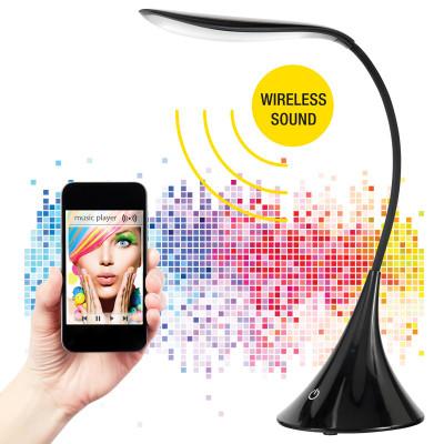 Black LED Desk Lamp With Wireless Bluetooth Speaker - Wave