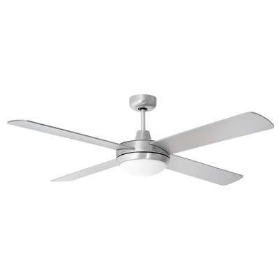 Ceiling Fan with Remote and LED Light - 52 Inch DC, Silver - Tempest