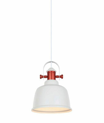 Industrial Pendant Light - White Iron Bell, Copper Plated - Alta