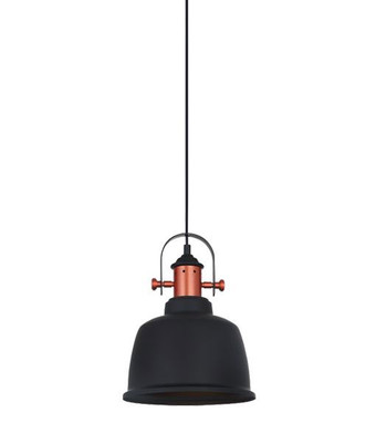 Industrial Pendant Light - Black Iron Bell, Copper Plated - Alta