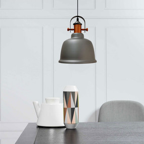 Industrial Pendant Light - Copper and Gray