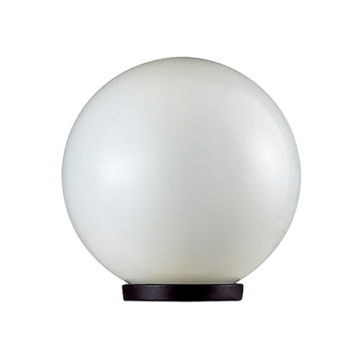 200mm Sphere 240V Polycarbonate Garden Light - Black Base & Opal Sphere / E27