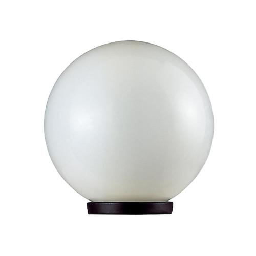 200mm Sphere 240V Polycarbonate Garden Light - Black Base & Opal Sphere / E27
