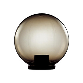200mm Sphere 240V Polycarbonate Garden Light - Black Base & Smoke Sphere / E27