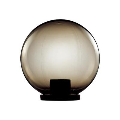 250mm Sphere 240V Polycarbonate Garden Light - Black Base & Smoke Sphere / E27