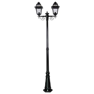 Avignon Twin Head Tall Post Light - Black Finish / B22