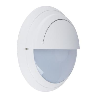 Round Eyelid 240V Polycarbonate Wall Light - White Finish / E27