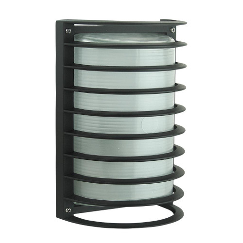 Cylindrical 240V Bunker with Grille - Black Finish / 1 x E27
