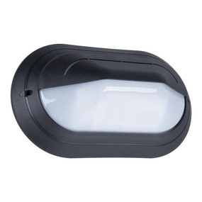 Oval Eyelid 240V Polycarbonate Wall Light - Black Base / E27