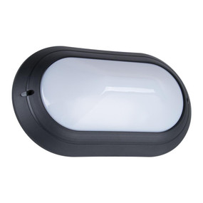 Oval 240V Polycarbonate Wall Light - Black Base / E27
