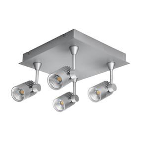 Quad LED Square Spotlight - Silver Finish / White LED