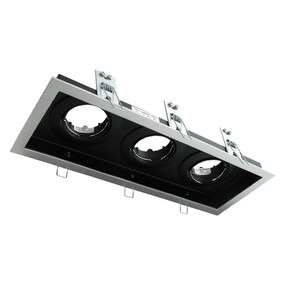 Rectangular Slotter Triple Light Downlight  Frame - Silver Frame