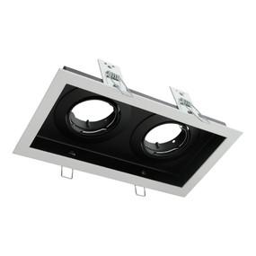 Rectangular Slotter Twin Light Downlight Frame - White Frame