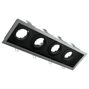 Rectangular Slotter Four Light Downlight Frame - Silver Frame
