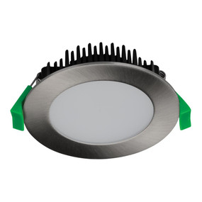 Round 13W Dimmable LED Downlight - Satin Chrome Frame / Warm White LED